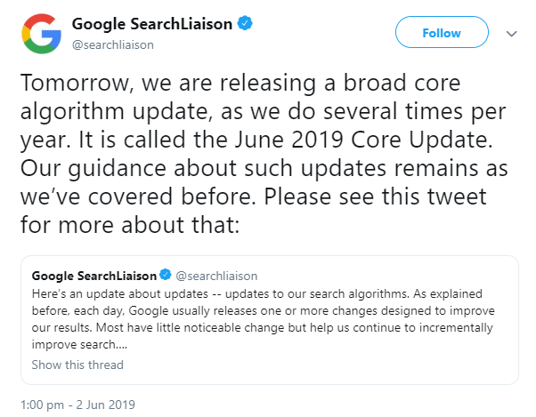 A tweet from the google search liaison account that mentions the update