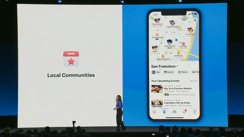 Fidji, head of Facebook App, showing off Local Communities at the F8 conference