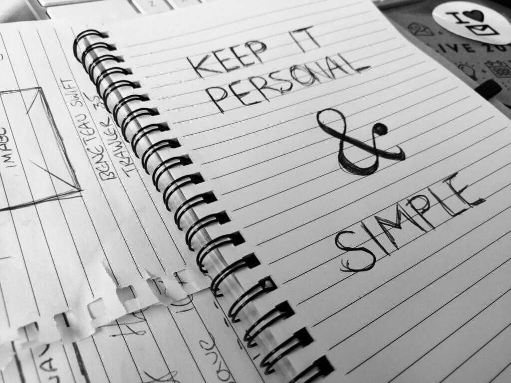 notepad that says keep it personal & simple