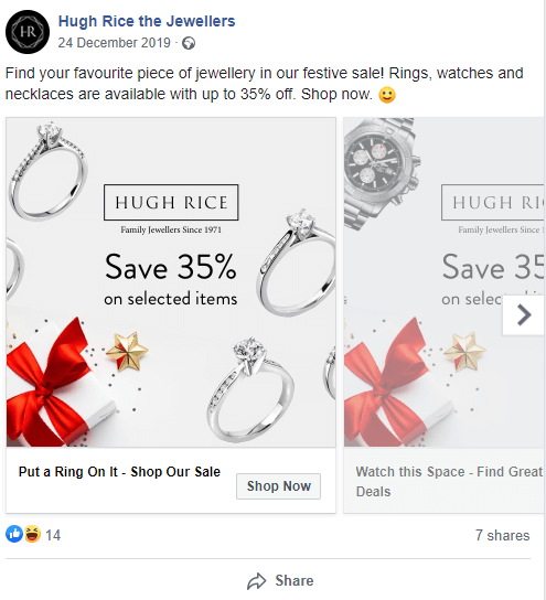 An example of a carousel ad on Facebook