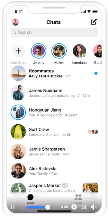 An example of a messenger ad on Facebook