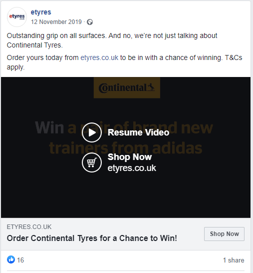 An example of a video ad on Facebook